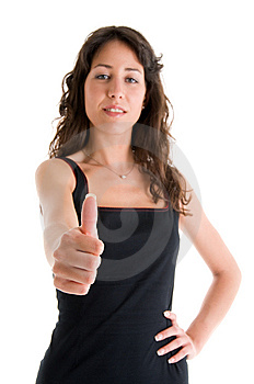 Successful Young Woman, Focus On Thumb Royalty Free Stock Images - Image: 5834829