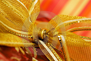 Red Gift Box With Golden Ribbon Stock Photography - Image: 5839602