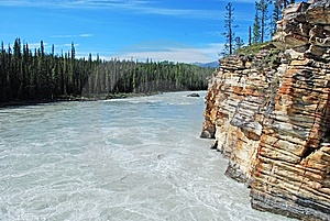 Downstream Of Athabasca Fall Royalty Free Stock Photography - Image: 5841837