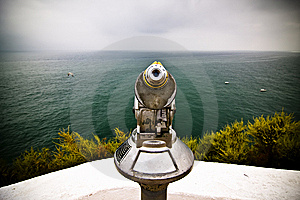 Monocular Pointing To The Sea Royalty Free Stock Image - Image: 5844566