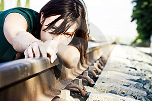 Sad Woman On Railtrack Royalty Free Stock Images - Image: 5844619