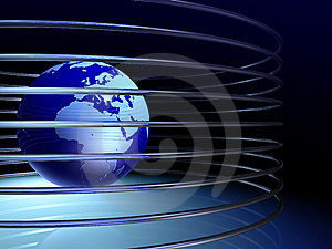 Globe With Rings Royalty Free Stock Image - Image: 5845966