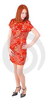 Red-head In Red Dress Stock Photography - Image: 5846712