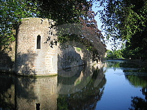 Castle Wall Reflected In Moat Royalty Free Stock Photos - Image: 5849278