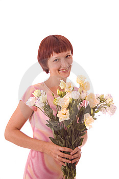 Red-haired Girl With Flowers Royalty Free Stock Photo - Image: 5849485
