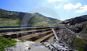 Reservoir Water And Dam In Mountain Royalty Free Stock Image - Image: 5850796