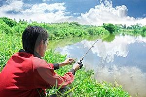 Pêche De L'activité Extérieure De Passe-temps Image libre de droits - Image: 5852016