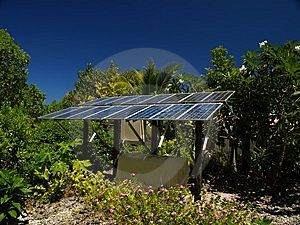 Solar panel on a tropical island Royalty Free Stock Images