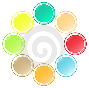 Set Of  Beautiful Round Buttons In Unusual Colors Stock Images - Image: 5860904