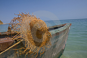 Fishing Boat With Large Hat Stock Images - Image: 5871684