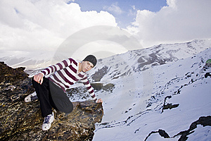 Young Model Posing At High Altitude Royalty Free Stock Image - Image: 5883146