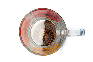 Instant Coffee And Sugar In Glass Cup Royalty Free Stock Photo - Image: 5883795