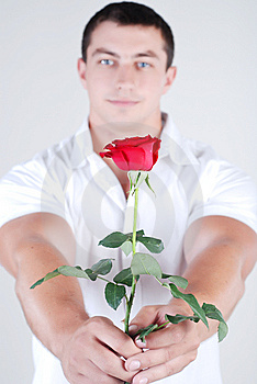 Athlete With Rose Royalty Free Stock Photography - Image: 5888157