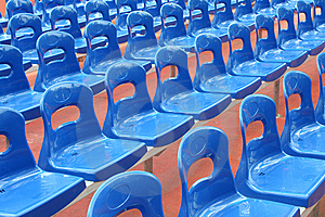 Rows Of Blue Stadium Seats Stock Image - Image: 5892401