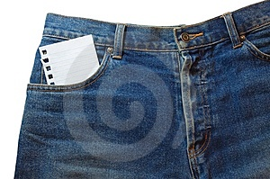 Note in jeans pocket Royalty Free Stock Images