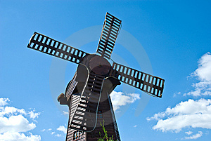 Mill On The Sky Background Stock Photo - Image: 5914290