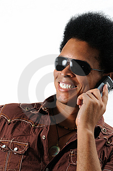 Happy Man Using Cell Phone Stock Photo - Image: 5917680