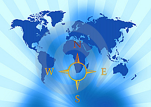 World Map With Compass Royalty Free Stock Images - Image: 5926009