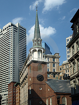 Historic Brick Church And Modern Buildings Royalty Free Stock Images - Image: 5953099