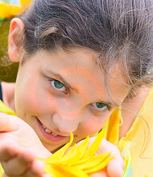 Smile Girl And Floral Petal Stock Image - Image: 5958491