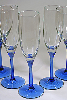 Triangle Of Shiny Blue Wine Glasses Stock Photography - Image: 5965122