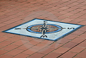 Compass In Tiles Stock Images - Image: 5971774