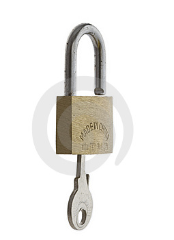Small Brass Padlock With Key Inserted Stock Photo - Image: 5972900