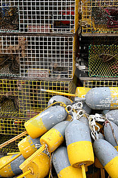 Lobster Traps And Buoys Stock Photos - Image: 5973783