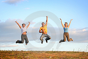 Sunset jump Free Stock Photo