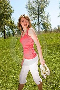 Girl Walking Barefoot Royalty Free Stock Image - Image: 5977676