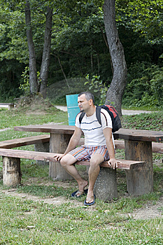 Tired Man Is Sitting On A Bench Stock Images - Image: 5983424