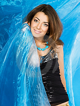 Woman With Blue Silk Fabric Royalty Free Stock Photo - Image: 5984855