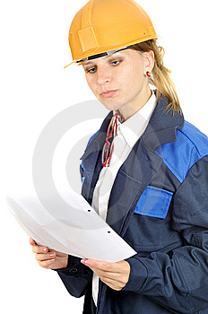 Attractive Engineer Woman Reads Paper Stock Photos - Image: 5986323