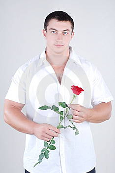 Athlete With Rose Royalty Free Stock Photos - Image: 5987848