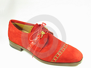 Red suede shoe Royalty Free Stock Image
