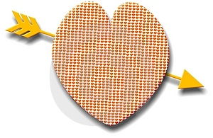 Patterned Heart With A Golden Arrow Free Stock Images