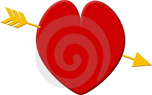 Red heart, golden arrow Stock Photo