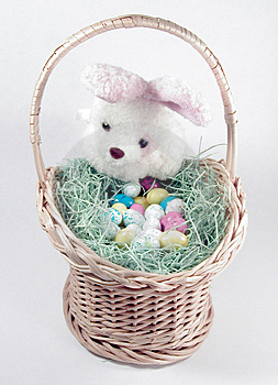 Easter Bunny And Basket 2 Stock Image