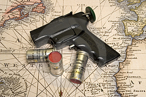 Flare Gun on the map Free Stock Photos