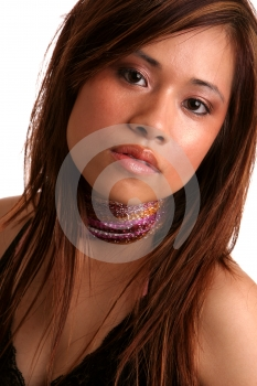 Pretty Asian Girl Head Tilted Royalty Free Stock Photography - Image: 606907