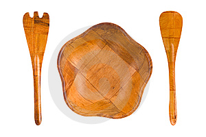 Wood Plate, Spoon And Fork Royalty Free Stock Images - Image: 6005209