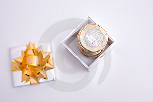 Box To Gift And Coin Stock Images - Image: 6006954