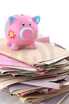 Folders with Piggybank Free Stock Photo