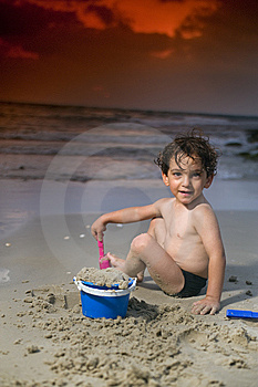 Boy Play Beach Sunset Royalty Free Stock Photography - Image: 6018557