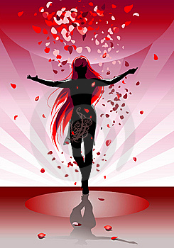 The Female Silhouette Dances  Stock Photos - Image: 6020493