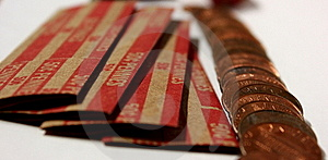 Pennies With Coin Rolls Stock Photos - Image: 6021243