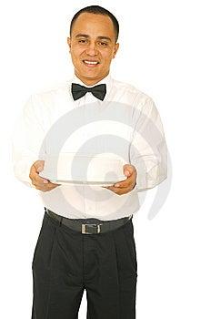 Waiter Holding Food Stock Photography
