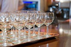 Wine Glass On Tray Stock Photo - Image: 6027280