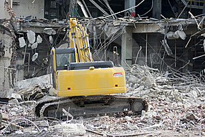 Excavator Removing Rubble Stock Photo - Image: 6031180