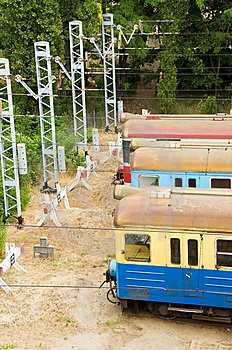 Old Trains On Side Track Royalty Free Stock Image - Image: 6031676